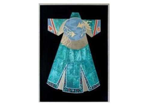 Fine Asianliving Oosters Schilderij Olieverf Chinees Gewaad Blauw 750x1000mm