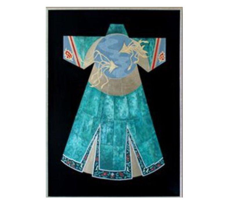 Oosters Schilderij Olieverf Chinees Gewaad Blauw 750x1000mm