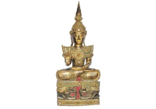 Fine Asianliving Iwa Royal Sitting Buddha on Elephant Base Black Gold Handmade from Solid Tree Trunk L45xW32xH75cm