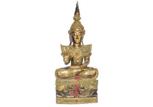 Fine Asianliving Iwa Royal Zittende Boeddha Olifanten Zwart Goud Handgemaakt Massief Hout L45xB32xH75cm