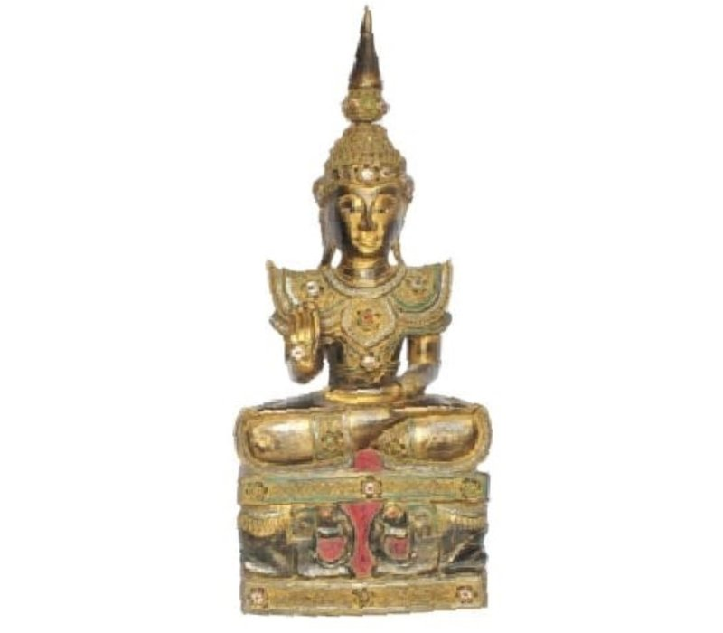 Iwa Royal Sitting Buddha on Elephant Base Black Gold Handmade from Solid Tree Trunk L45xW32xH75cm