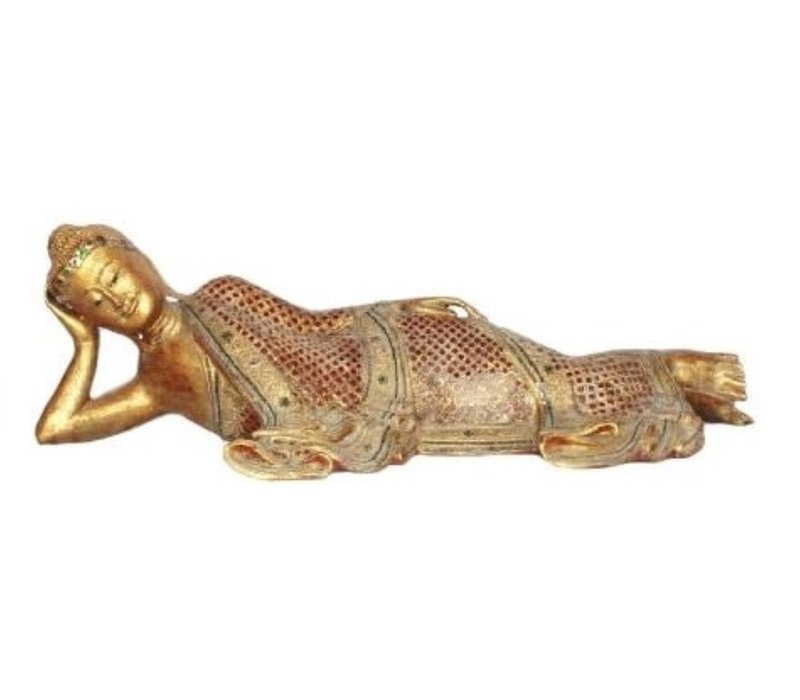 Mandalay Liggende Buddha Zwart Rood Goud Handgemaakt Van Stevige Boomstam L162xB50xH50cm