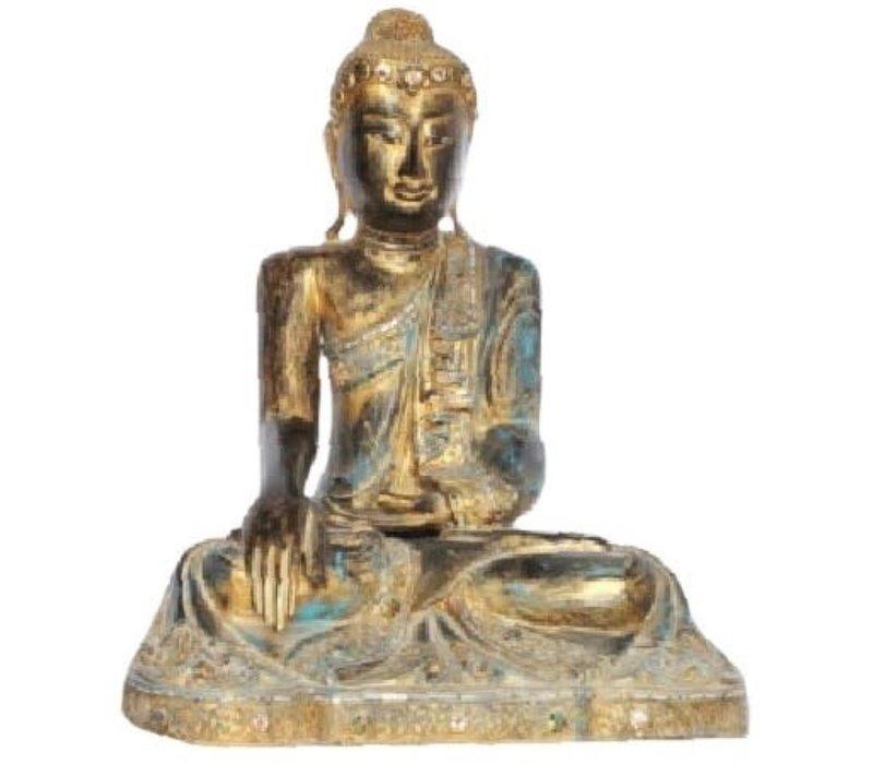 Mandalay Zittende Buddha Zwart Goud L56xB41xH73cm Handgemaakt Van Stevige Boomstam
