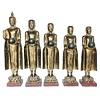Fine Asianliving Staande Buddha met Staande Monnik 107-75cm Set/5 Handgemaakt van Stevige Boomstam