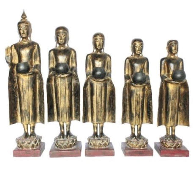 Staande Buddha met Staande Monnik 107-75cm Set/5 Handgemaakt van Stevige Boomstam