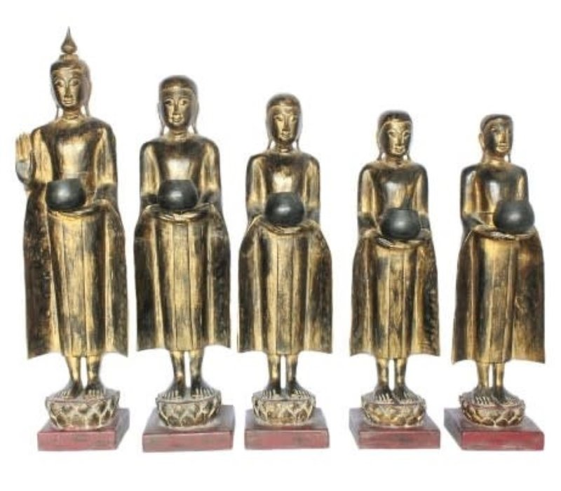 Standing Buddha with Standing Monk 107-75cm Set/5 Handmade from Solid Tree Trunk