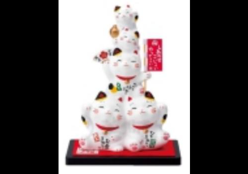 Fine Asianliving Chat Porte-Bonheur Famille Fait Main au Japon