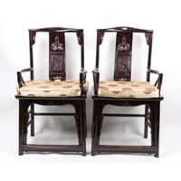 Chinesischer Esszimmerstuhl Holz Schwarz 2er Set