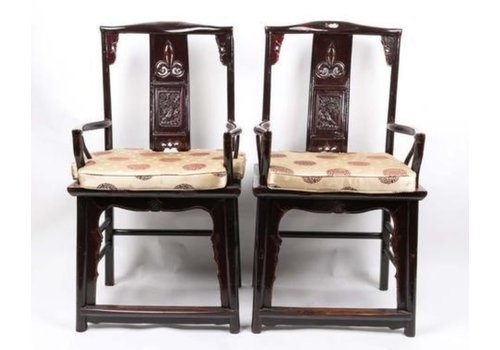 Fine Asianliving Chinese Chairs Set Handcrafted Black Yuwood