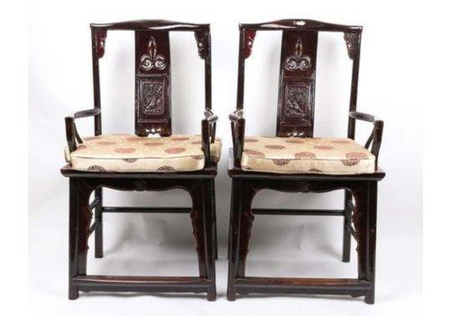 Fine Asianliving Chinesischer Esszimmerstuhl Holz Schwarz 2er Set