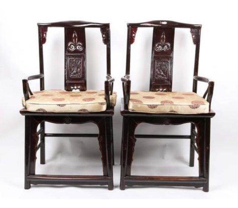 Chinese Stoelen Set Handgesneden Zwart Yuwood