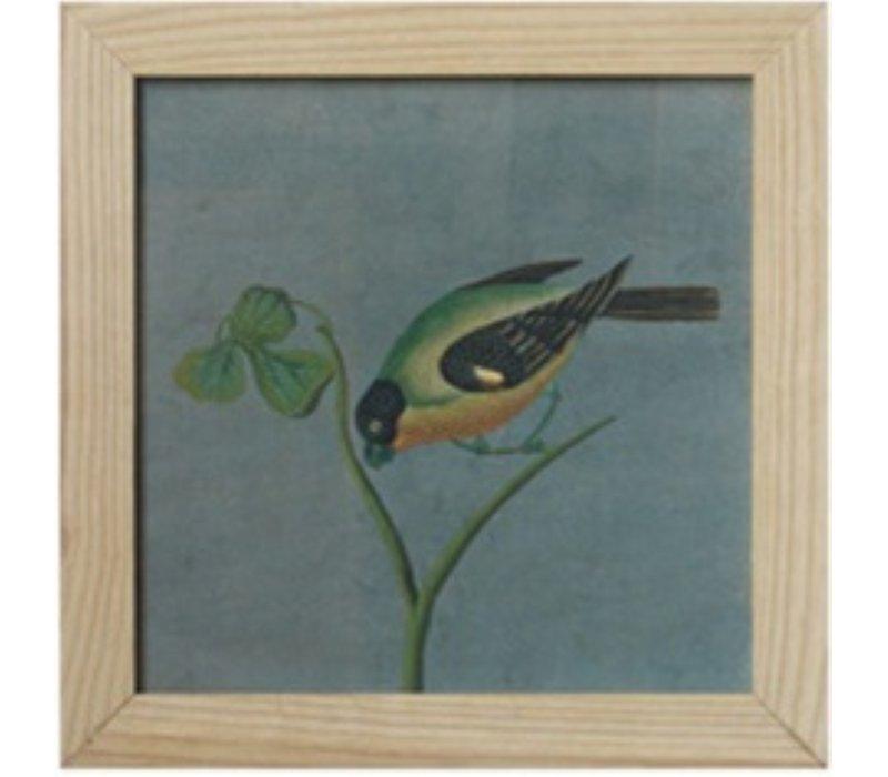Chinees Schilderij met Lijst Vogel op Takje B42xH42cm