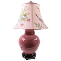 Chinese Tafellamp Porselein Handgeschilderde Kap Roze