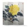 Fine Asianliving Biombo Separador de Lienzo Chino 4 Paneles Peonía Amarilla Anch.160 x Alt.180 cm