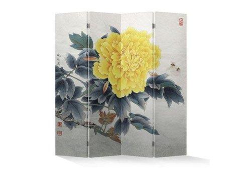 Fine Asianliving Chinees Kamerscherm Oosters Scheidingswand 4 Panelen Pioen Geel L160xH180cm