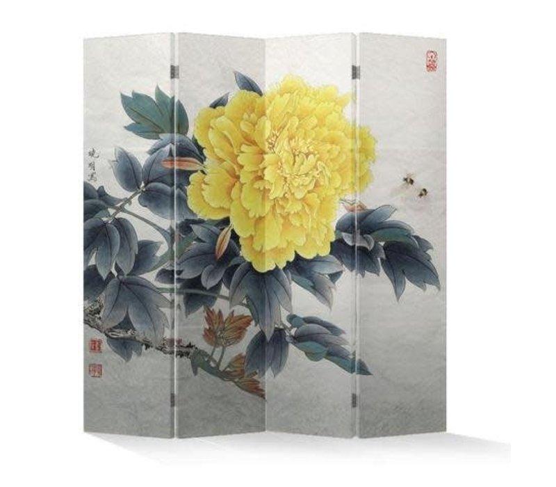 Biombo Separador de Lienzo Chino 4 Paneles Peonía Amarilla Anch.160 x Alt.180 cm