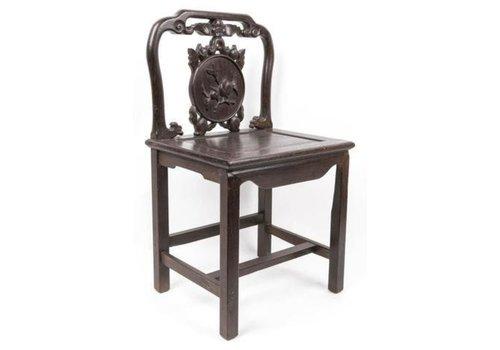 Fine Asianliving Antiker Chinesischer Stuhl Holz mit handgeschnitztem Pfirsich
