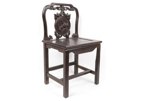 Fine Asianliving Antique Chinese Stool with Handcrafted Peach