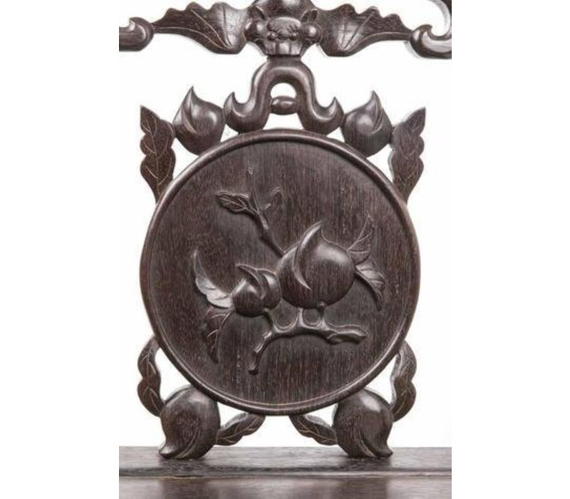 Antieke Chinese Stoel met Handgesneden Perzik