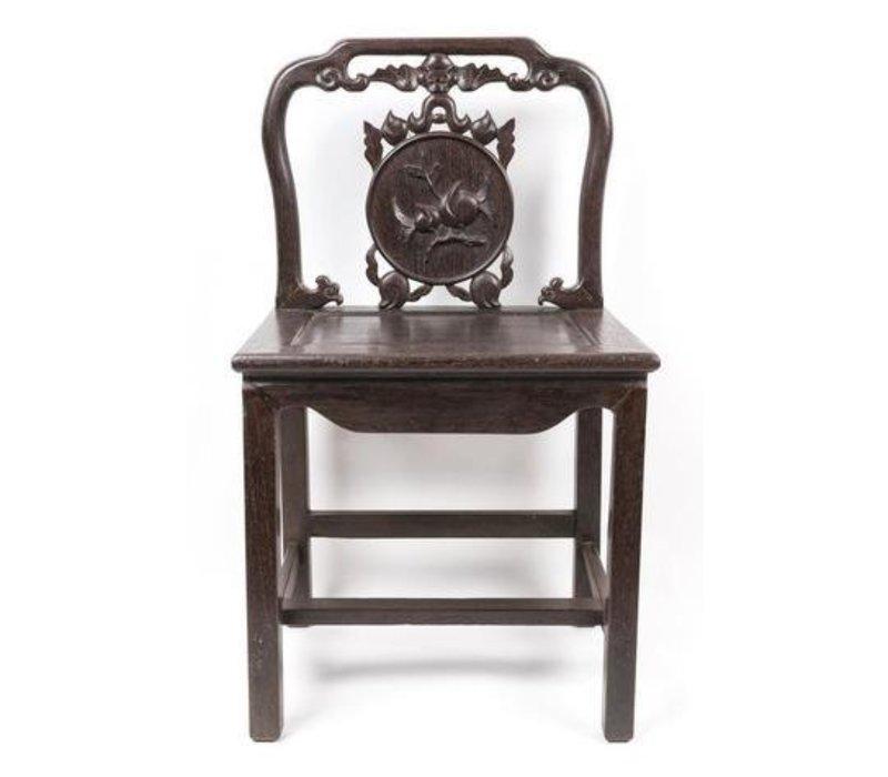 Antiker Chinesischer Stuhl Holz mit handgeschnitztem Pfirsich