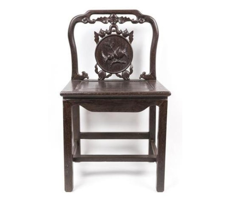 Antique Chinese Stool with Handcrafted Peach