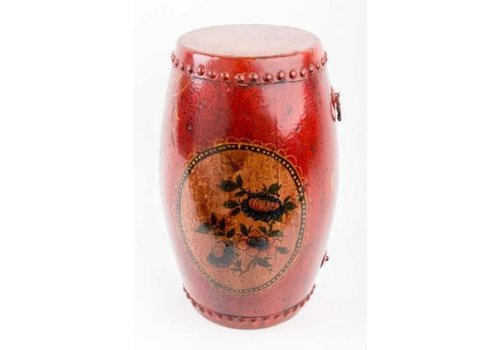 Fine Asianliving Chinese Drum with Hand-painted Flowers Antique Red Small