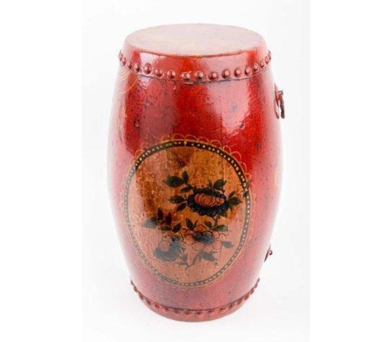 Chinesische Trommel mit Handbemalten Blumen Antik Rot Klein
