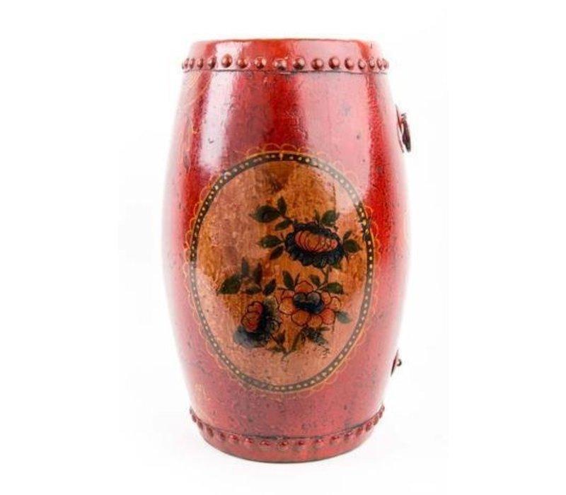 Chinese Trommel met Handgeschilderde Bloemen Antiek Rood Klein