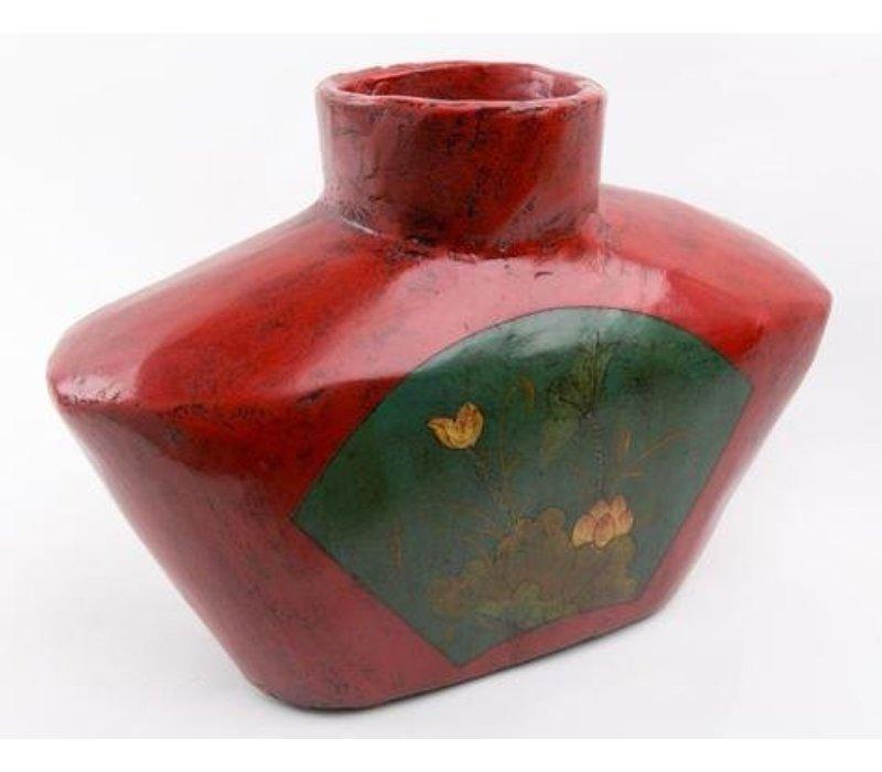 Chinesische Vase Handbemalt Antik Holz Groß