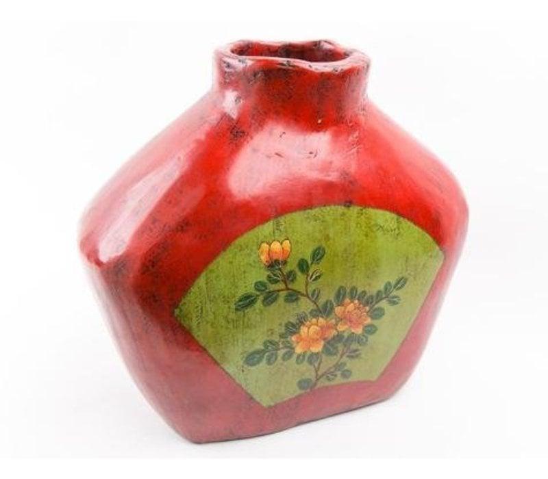 Vase en Bois Antique Chinois Peint à la Main Petit