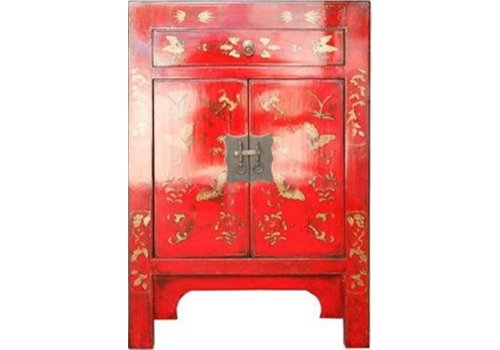 Fine Asianliving Armoire Chinoise L58xP37xH85cm Papillons peints à la Main Rouge
