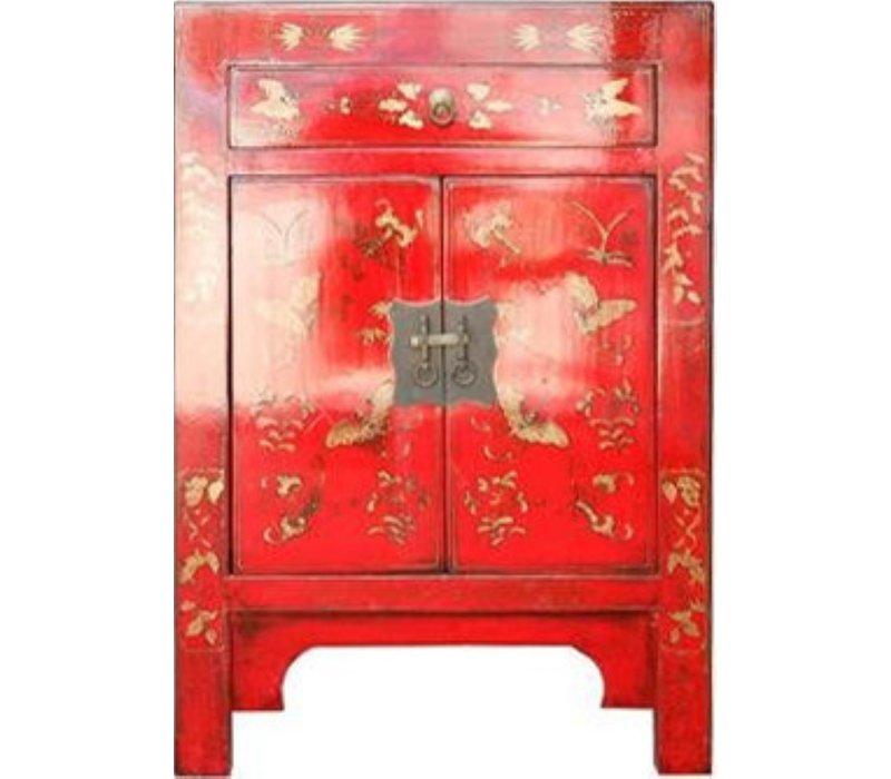 Chinese Kast Handgeschilderde Vlinders Rood B58xD37xH85cm