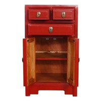 Chinesischer Nachttisch Nachtschrank Rot B44xT42xH77cm