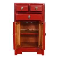 Table de Chevet Chinoise Rouge L44xP42xH77cm