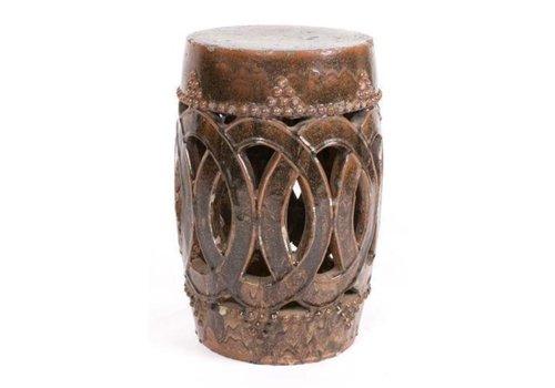 Fine Asianliving Sgabello Cinese Antico in Ceramica Cannella