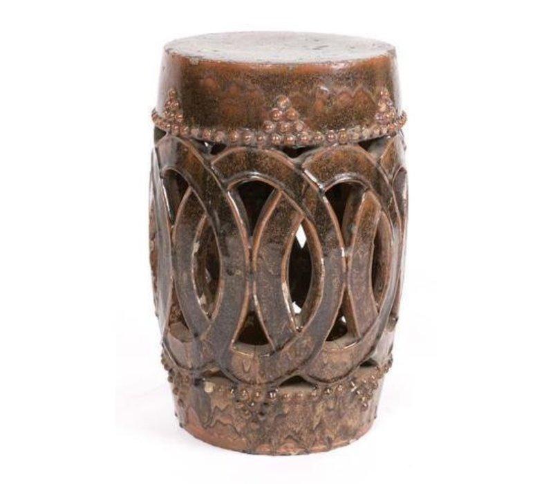 Sgabello Cinese Antico in Ceramica Cannella