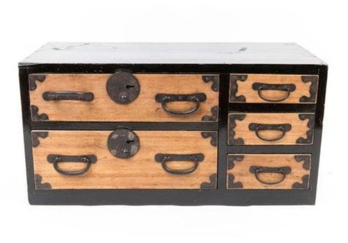 Fine Asianliving Caja Cofre de Almacenamiento Japonés Antiguo Tansu