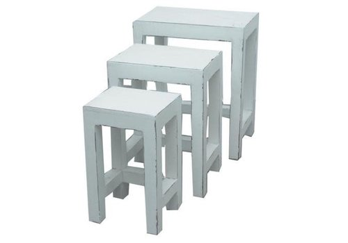 Fine Asianliving Chinese Side Tables Stools Set / 3 White