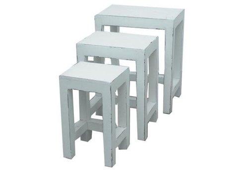 Fine Asianliving Tavolino Cinese Sgabelli Set di 3 Bianco