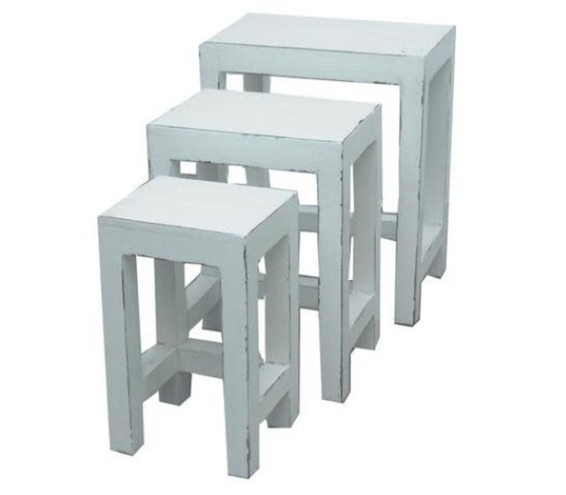 Chinese Side Tables Stools Set / 3 White