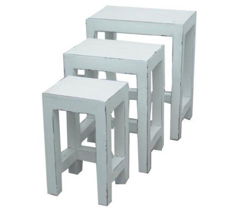Chinesischer Beistelltische Hocker 3er Set  Weiß