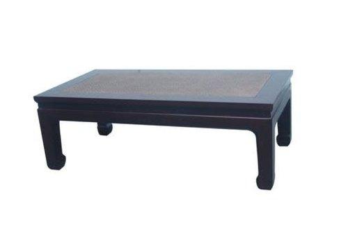 Fine Asianliving Tavolino Cinese in Legno con Piano Tavolo in Bambù Marrone L132xP70xA45cm