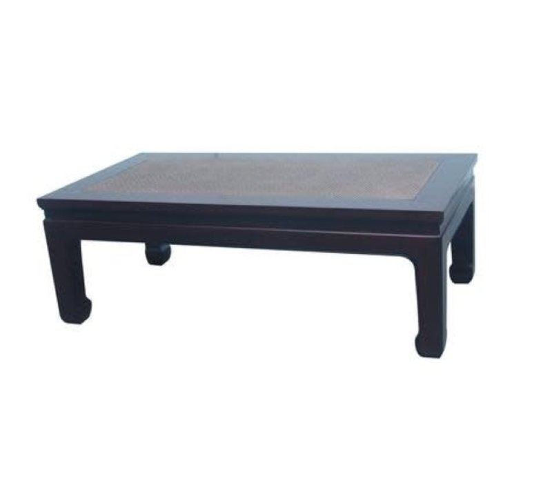 Tavolino Cinese in Legno con Piano Tavolo in Bambù Marrone L132xP70xA45cm