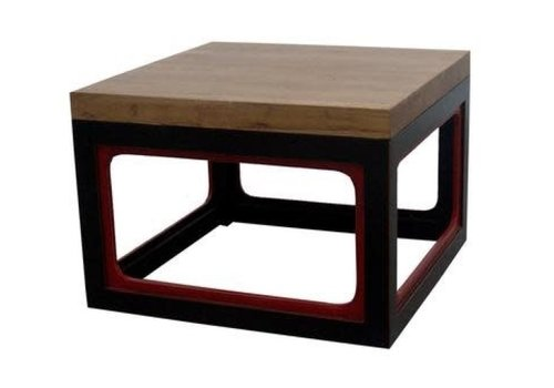 Fine Asianliving Chinesischer Couchtisch Modern Massivholz Schwarz Rot B65xT65xH45cm