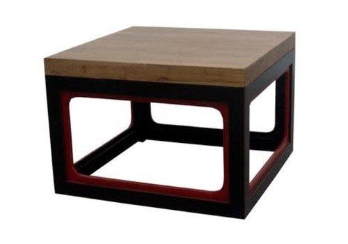 Fine Asianliving Table Basse Contemporaine Chinoise en Bois Noir Rouge L65xP65xH45cm