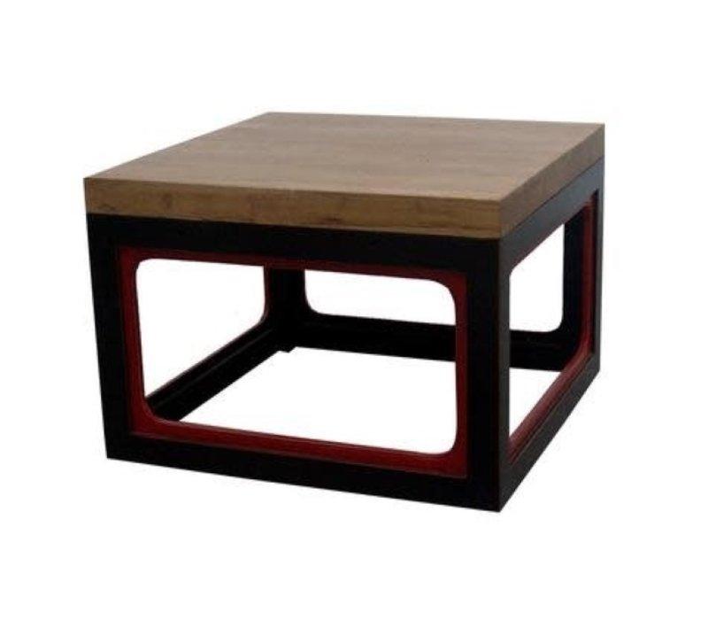 Tavolino Cinese Moderno in Legno Nero L65xP65xA45cm