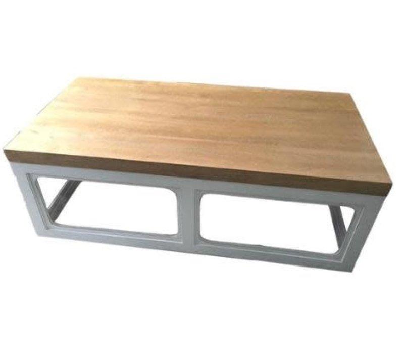 Tavolino Cinese in Legno Bianco L130xP65xA45cm