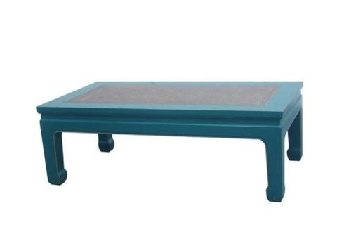 Fine Asianliving Table Basse Chinoise en Bois Bambou Bleu L132xP70xH45cm