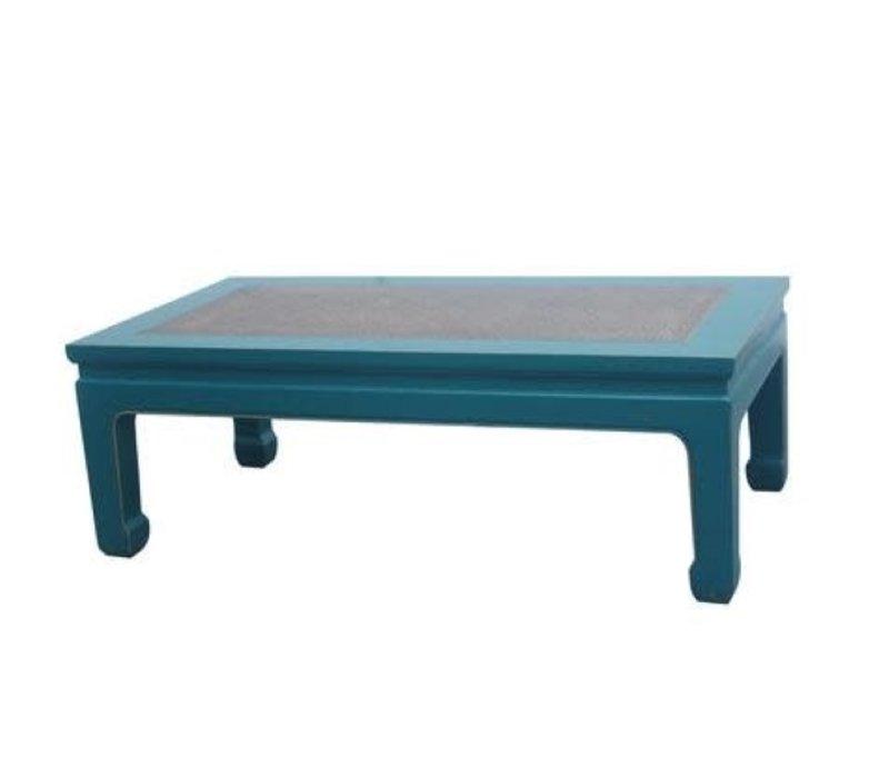 Tavolino Cinese in Legno con Piano Tavolo in Bambù Blu L132xP70xA45cm
