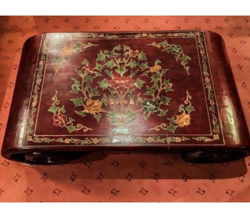 Tavolino Cinese in Legno Scorrimento con Fiori Dipinti a Mano Nero